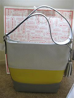 美国直邮 COACH  牛皮镂花柠檬黄,白色,灰色 单肩斜挎女包