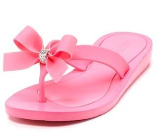 美国代购GUESS新款超美舒适蝴蝶结闪钻人字拖夹角凉鞋12色包邮!