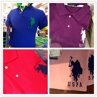 美国预定 USPA 男款多色短袖POLO衫 两件起拍可和女款配搭
