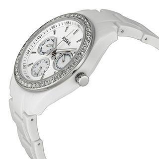 美国直邮Fossil Stella经典白色树脂表带水钻三小表女腕表ES1967
