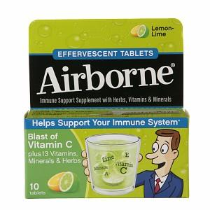 免运费!包美国直邮Airborne维生素C泡腾片对抗感冒10片 柠檬口味