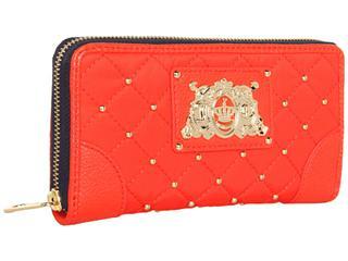 橘滋 (Juicy Couture) 高级尼龙缝制拉链钱包 紫色 橘色 多隔层