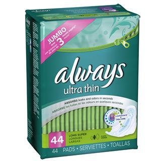 美国Always ultra thin超薄护翼卫生巾日用+夜用 持久干爽透气