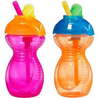 美国直邮Munchkin麦肯奇非凡易握防漏翻盖吸管杯 不含BPA 2只装 彩色吸管 多色可选 266ml