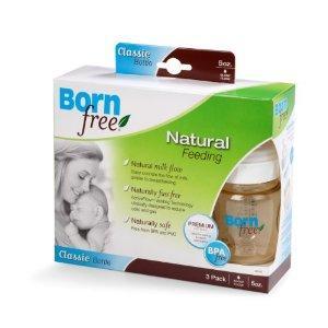 美国直邮Born Free 经典防胀气 不含BPA宽口塑料奶瓶3个装5OZ/9OZ