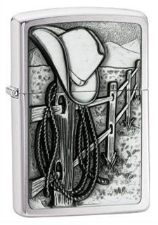 美国直邮 美国制造 Zippo芝宝打火机 西部牛仔 立体贴章 防风