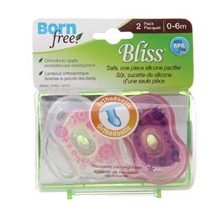 美国Born Free安全纯硅胶一体婴儿带手柄安抚奶嘴0-6M/6M+ 2只装
