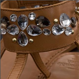 美国现货 AF女式宝石真皮罗马凉鞋LIGHT LEATHER FLIP FLOP