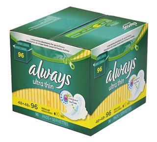 美国 Always ultra thin 超薄护翼卫生巾(日用、夜用两款)