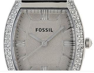 现货Fossil Wallace Leather真皮表带烟灰色水钻女石英石表ES3128