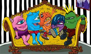 美国潮牌个性大眼怪Grawzulz 大眼睛 单眼家族 双肩包 蓝色、粉红