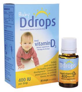 美国Baby Ddrops婴儿维生素D3滴剂400IU帮助钙吸收60/90滴