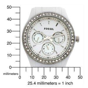 美国正品代购 Fossil白树脂晶钻三眼女表Stella ES1967