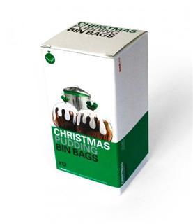 Suck UK 环保大型圣诞节布丁款垃圾袋 收纳袋 可降解塑料 12只一盒