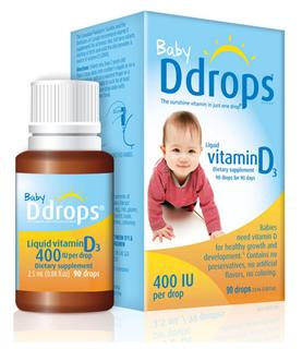 美国直邮 加拿大Baby Ddrops纯天然婴儿维生素D3 2.5ml 400 IU