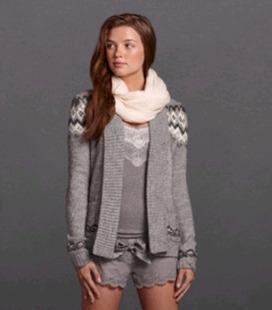 美国正品国内现货 AF女士羊毛混纺时尚超柔软开衫 双色