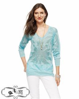 美国直邮【Juicy Couture】亚麻混纺V领套头针织衫-多色-JG007898