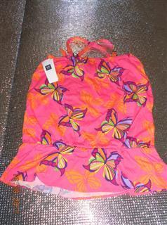 童装 GAP 中国现货 女童 2011新款 无袖 粉色蝴蝶吊带裙