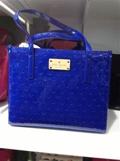 美国代购 Kate spade 糖果色亮面手提女包 蓝色