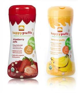 美国直邮 HappyBaby有机全麦泡芙婴幼儿零食 草莓香蕉品味 2罐组合